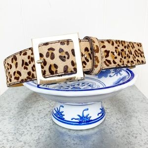 Accessories - Leopard print leather calf's hair belt